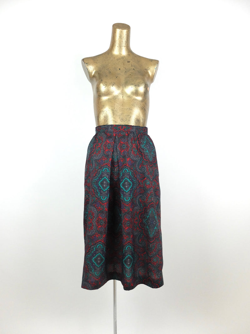 60s Mod Psychedelic Paisley High Waisted Pleated Below-the-Knee Midi Skirt