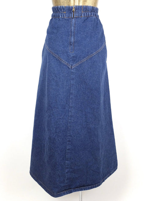 70s Western Medium Wash Denim High Waisted Circle Maxi Skirt with Puff Painted Horse