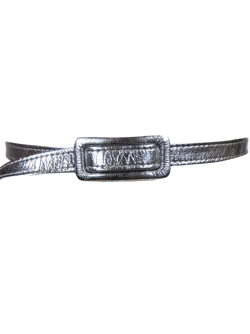 Vintage 60s Space Age Mod Metallic Silver Adjustable Thin Belt