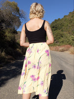 80s Pastel Yellow Floral Prairie Style High Waisted Floral Circle Midi Skirt
