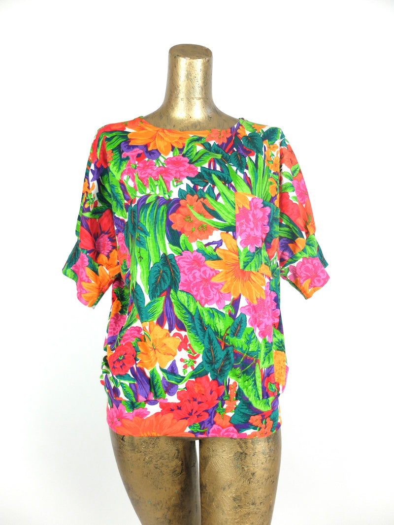 80s Bright Floral Scoop Neck Half Sleeve Pullover Shirt with Cinched Waist