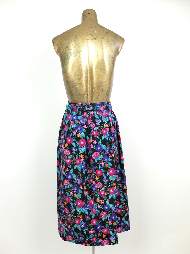 80s Psychedelic Mod Floral Silky High Waisted Circle Midi Skirt with Separate Waist Tie