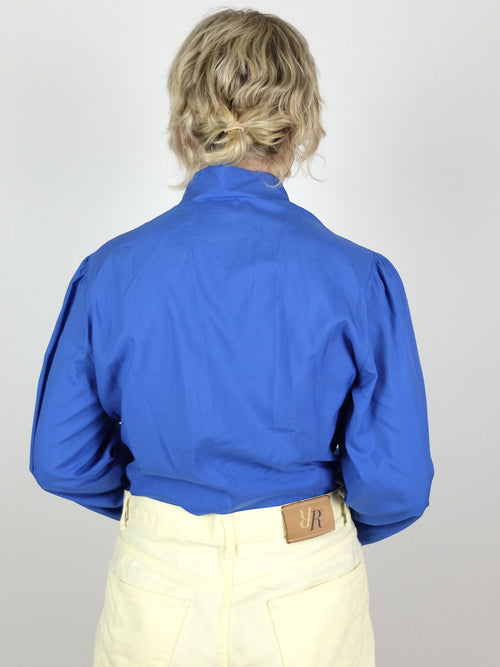 70s Mod Bright Blue Front Pleated Mockneck Long Sleeve Button Up Blouse