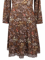 Vintage 70s Mod Brown Floral Peter Pan Collar Keyhole Long Sleeve Pleated A-Line Midi Dress with Lace Trim