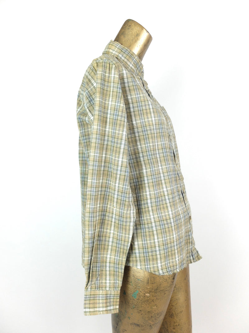 70s Western Rodeo Green Check Print Long Sleeve Collared Button Up Flannel Shirt