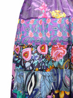 Vintage 90s Cottagecore Prairie Paisley Floral High Waisted Ruffled Cotton Maxi Skirt