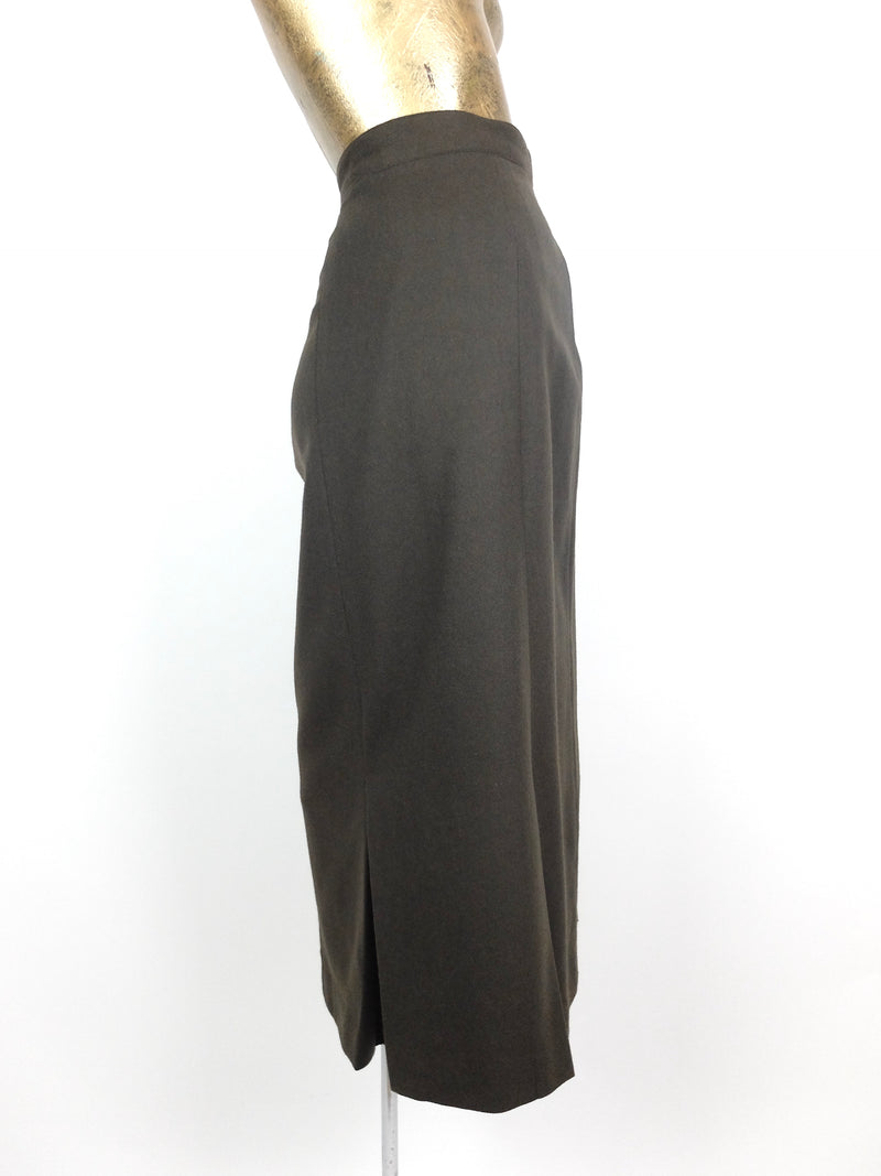 70s Deadstock Mod Olive Green Basic Wool High Waisted Pleated Below-the-Knee Midi Skirt