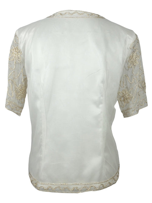 Vintage 80s Art Deco Style Cream and Gold Abstract Embroidered Button Down Half Sleeve Blouse