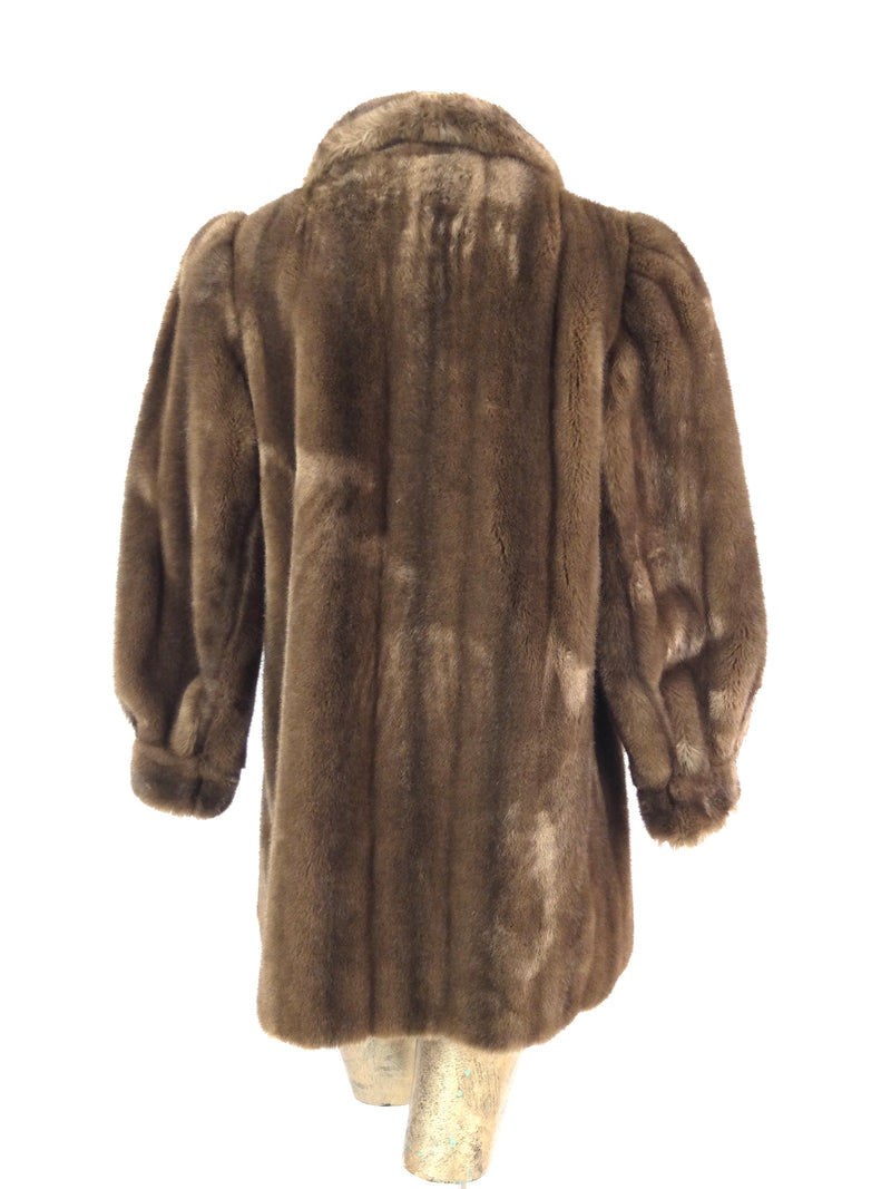 50s Brown Faux Fur Collared Structured Winter Coat with Pockets