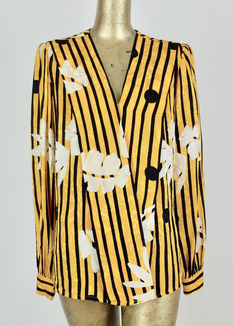 70s Abstract Striped Polka Dot V-Neck Draped Long Sleeve Silk Blouse with Padded Shoulders