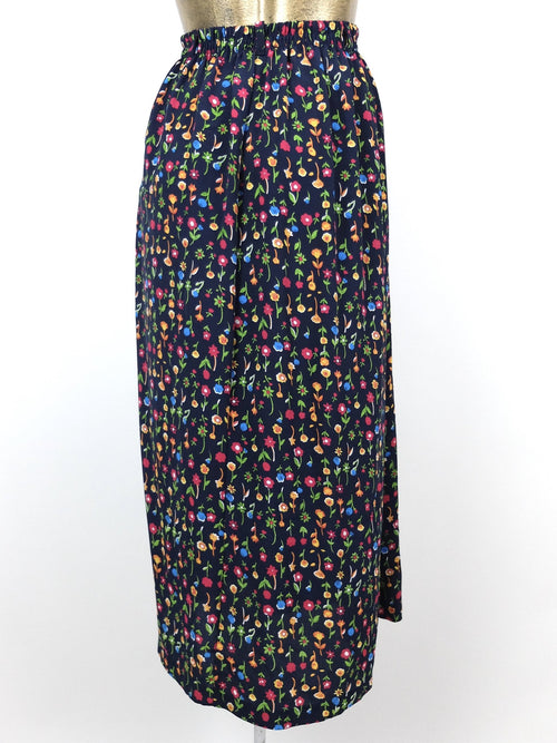 80s Bohemian Bright Floral High Waisted Circle Maxi Skirt
