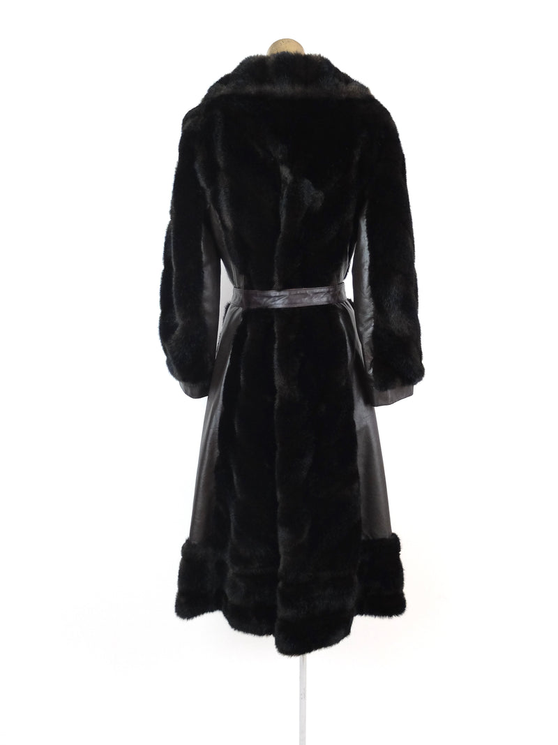 60s Mod Faux Fur and Leather Long Winter Trench Coat with Belt Tie