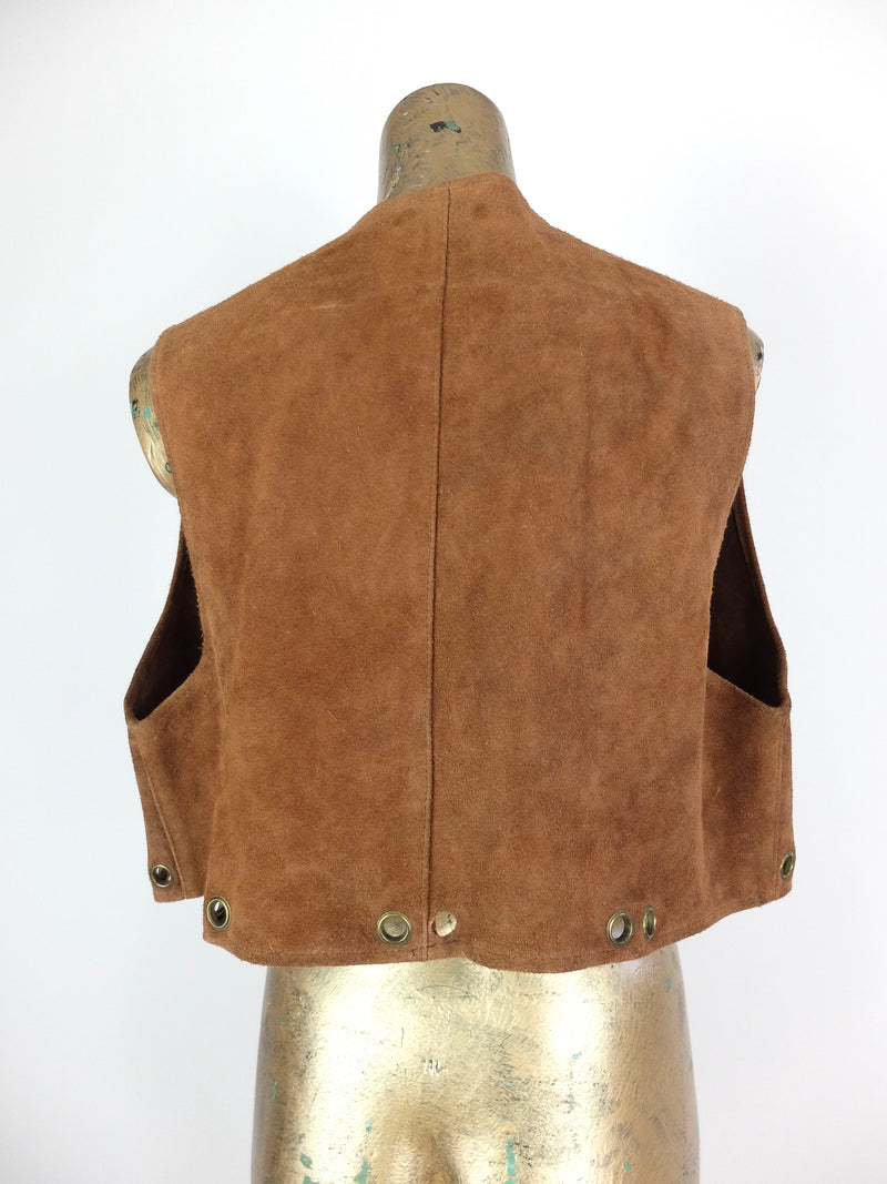 70s Hippie Festival Style Rust Brown Suede Leather Sleeveless Vest with Metal Ring Details