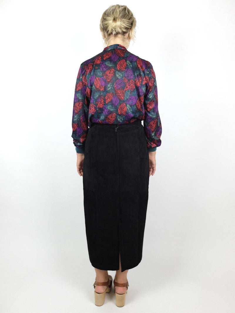 70s Abstract Long Sleeve Silky Pussy Bow Blouse