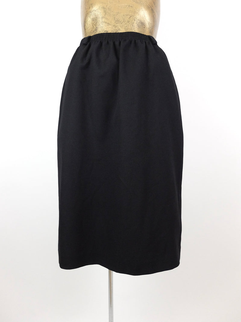 80s Black Basic High Waisted Below-the-Knee Midi Skirt with Pockets