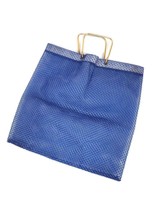 Vintage 60s Mod Navy Blue Boxy Woven Plastic Geometric Top Handle Tote Bag Purse