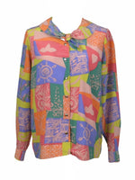 Vintage 80s Abstract Geometric Peter Pan Collar Neck Tie Long Sleeve Button Up Blouse