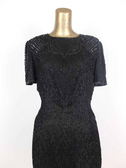80s Black Intricate Abstract Formal Beaded Sequin Fitted Dress