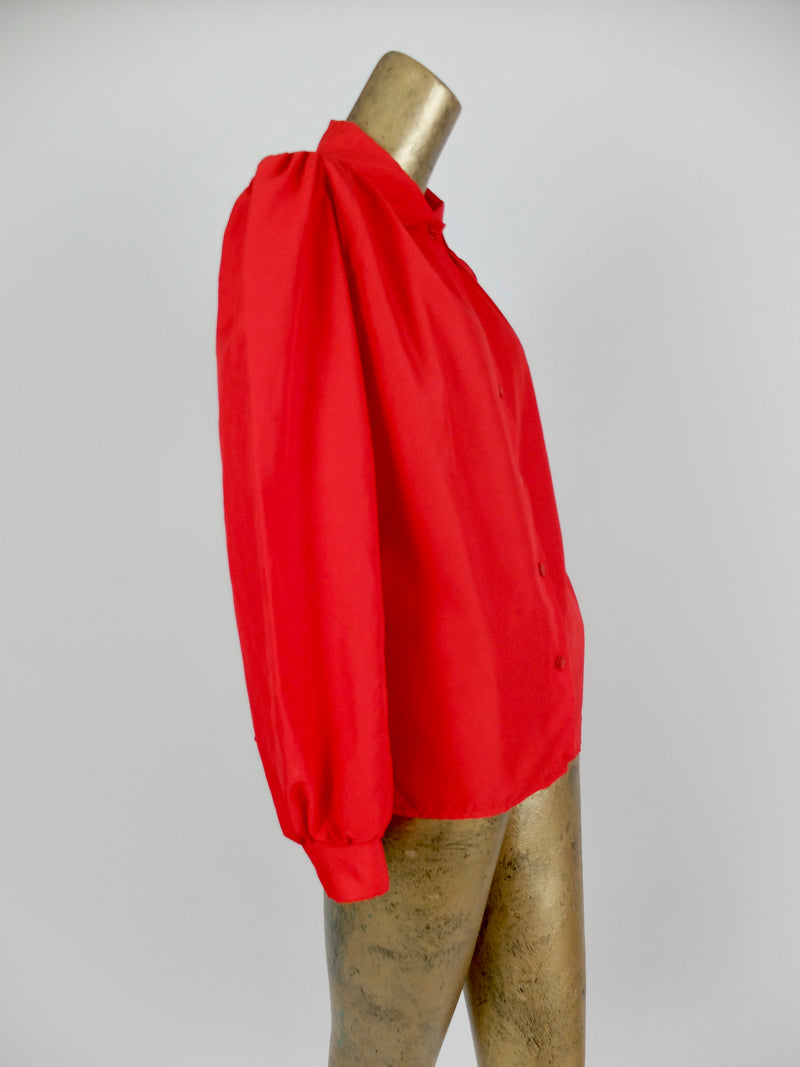 70s Mod Style Red Puff Sleeve Collared Button Up Disco Shirt Blouse