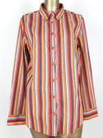 80s United Colors of Benetton Multicolored Striped Collared Long Sleeve Button Up Shirt