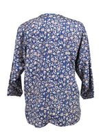 Vintage 70s Mod Blue and Pink Floral Button Down Kimono Style Scoop Neck 3/4 Sleeve Blouse