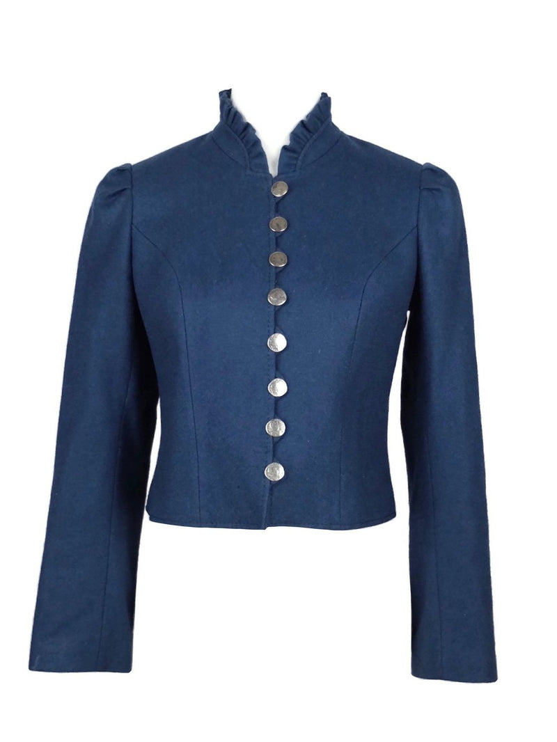 Vintage 70s Austrian Trachten Dirndl Blue Traditional Wool Ruffled Collar Button Down Blazer Jacket