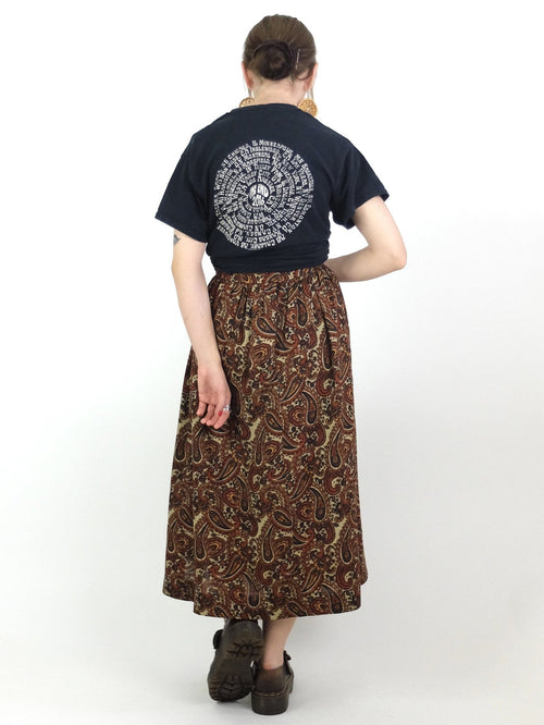 70s Psychedelic Paisley Print Hippie Style High Waisted Full Circle Midi Skirt