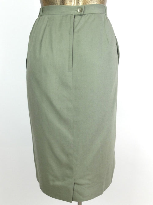 80s Mod Style Eucalyptus Green High Waisted Below-the-Knee Midi Pencil Skirt with Pockets