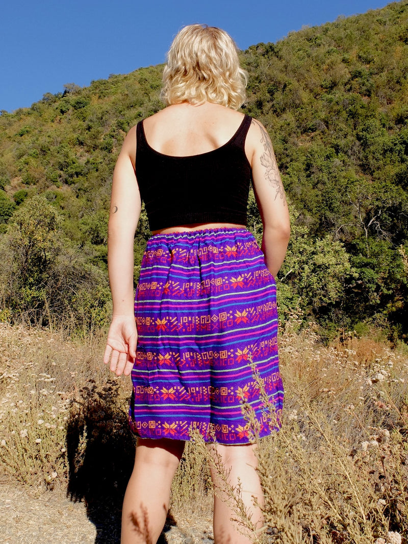 70s Bright Mexican Blanket Embroidered Above-the-Knee Mini Skirt