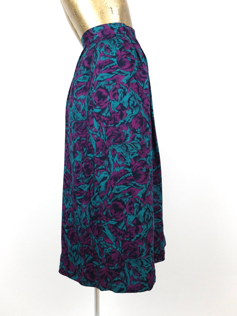 80s Romantic Bohemian Floral High Waisted Full Circle Midi Skirt