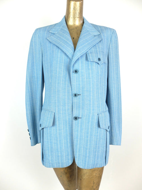 60s Mod Baby Blue Chevron Collared Button Down Blazer Jacket with Padded Shoulders