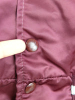 80s Athletic Maroon and Grey Silky Satin Snap Collared Baseball Sports Team Bomber Jacket