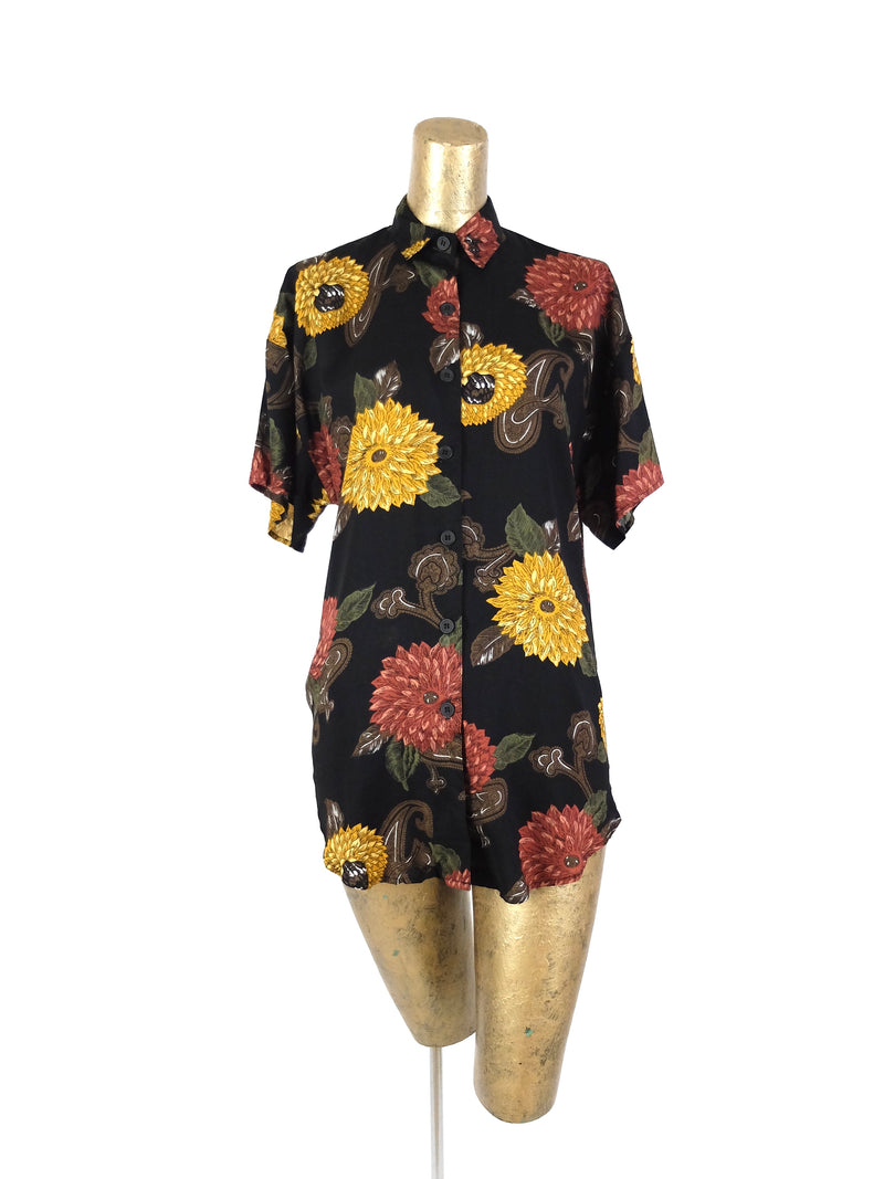 80s Floral Sunflower Short Sleeve Collared Button Up Shirt