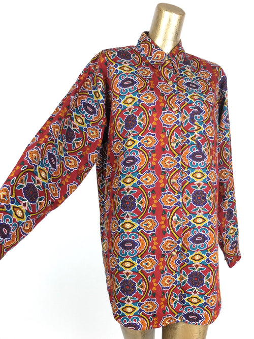 70s Abstract Patterned Collared Long Sleeve Button Up Cotton Shirt