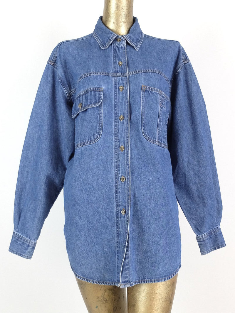 90s Basic Blue Denim Long Sleeve Collared Button Up Jacket Shirt