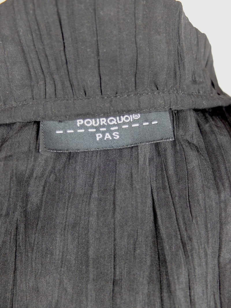 Vintage 90s Y2K Black Frilled Pleated Long Sleeve Cinched Waist Blouse with Bow Tie