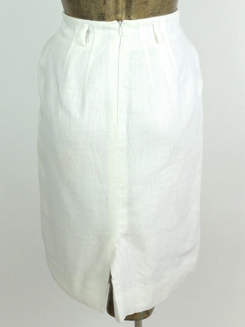 80s Mod Style White Basic Linen Above-the-Knee Pencil Mini Skirt