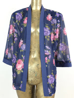 80s Bohemian Floral 3/4 Sleeve Lightweight Kimono Style Open Blouse with Padded Shoulders