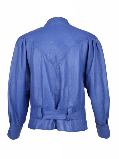 Vintage 80s Purple Blue Mockneck Moto Belted Zip Up Leather Jacket