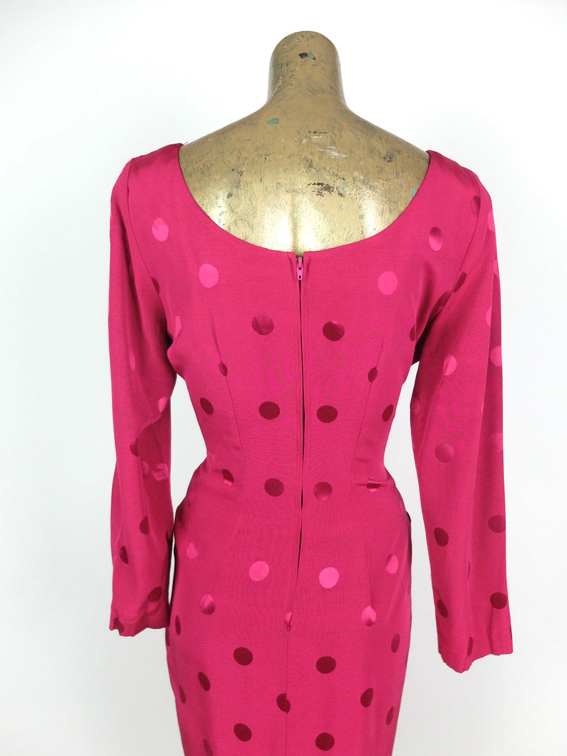 70s Glam Rock Hot Pink Polka Dot Long Sleeve Going Out Mini Dress