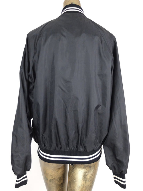 70s Black Bose Logo Athletic Collared Snap Baseball Windbreaker Jacket