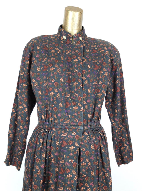 80s Bohemian Prairie Style Floral Long Sleeve Mockneck Midi Circle Dress