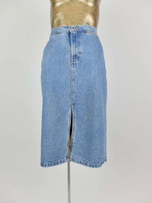 80s High Waisted Light Wash Blue Denim Below-the-Knee Midi Skirt with Front Slit