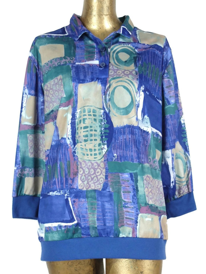 80s Abstract Geometric 3/4 Sleeve 1/4 Button Up Collared Pullover Blouse