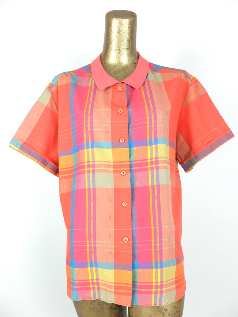80s Coral Check Print Collared Short Sleeve Button Up Shirt