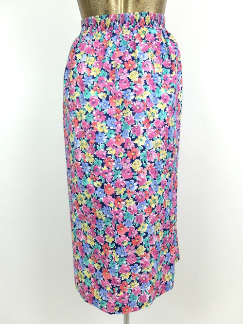 80s Bohemian Pink Floral High Waisted Cotton Circle Midi Skirt
