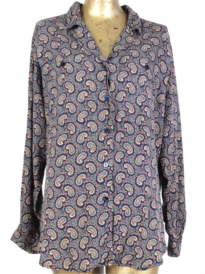 80s Mod Psychedelic Hippie Style Paisley Collared Long Sleeve Shirt
