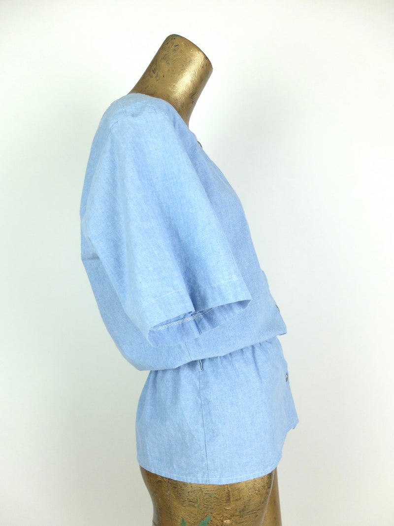 70s Light Wash Blue Denim Button Up Peplum Cinched Waist Half Sleeve Blouse