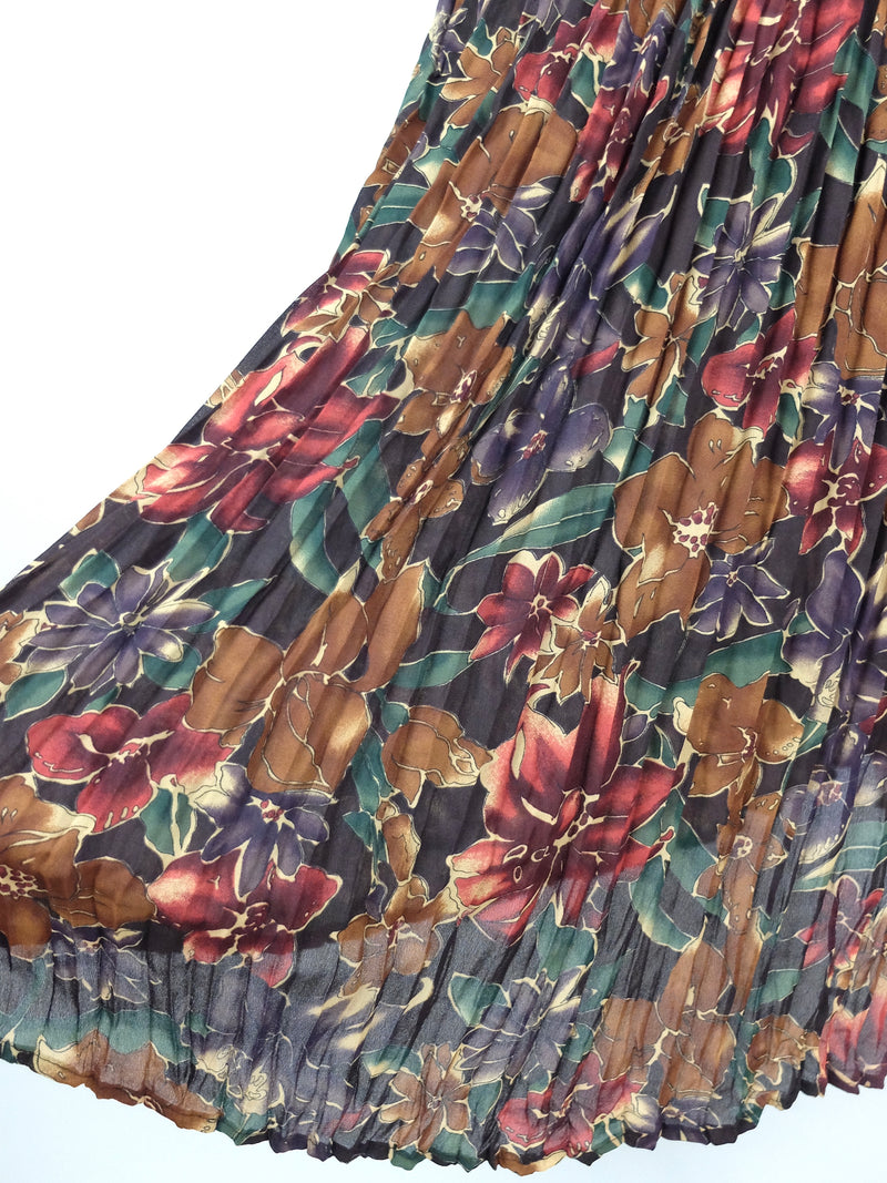 70s Floral Pleated High Waisted Flowy Sheer Chiffon Circle Maxi Skirt