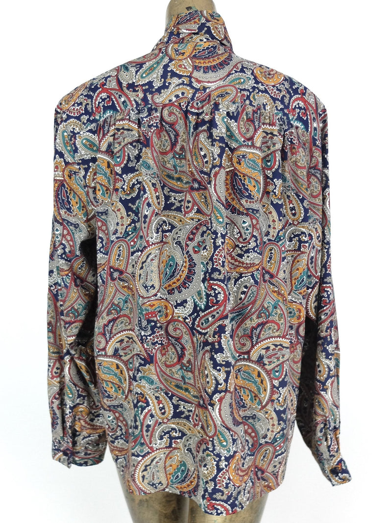 70s Mod Style Psychedelic Paisley Print Long Sleeve Pussy Bow Neck Tie Button Up Blouse
